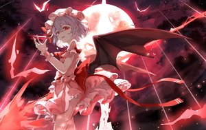 Rating: Safe Score: 82 Tags: animal bat bow clouds dress gray_hair hat moon night red_eyes remilia_scarlet ribbons short_hair sky snozaki touhou vampire wings wristwear User: BattlequeenYume
