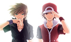 Rating: Safe Score: 94 Tags: all_male brown_hair green_eyes hat male mayokichi necklace ookido_green pokemon red_eyes red_(pokemon) white User: STORM