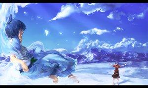 Rating: Safe Score: 56 Tags: barefoot benitama blue_hair clouds dress kaku_seiga miyako_yoshika sky touhou User: opai