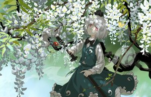 Rating: Safe Score: 25 Tags: bow flowers katana konpaku_youmu myon red_eyes reflection seeker shade shirt short_hair skirt sword touhou weapon white_hair User: otaku_emmy