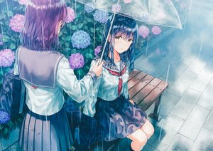 Rating: Safe Score: 33 Tags: 2girls black_hair blush brown_eyes crying flowers hiten_goane_ryu original purple_hair rain seifuku skirt umbrella water wet User: BattlequeenYume