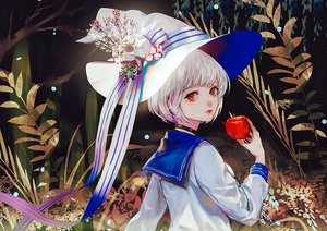 Rating: Safe Score: 35 Tags: apple choker flowers food fruit hat original ribbons say_hana seifuku short_hair skull waifu2x white_hair witch_hat User: otaku_emmy