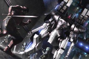 Rating: Safe Score: 24 Tags: all_male armor building city katana male mecha original rapama robot signed sword weapon User: RyuZU