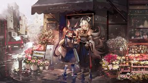 Rating: Safe Score: 51 Tags: amiya_(arknights) animal_ears arknights azalea building car flowers horns matoimaru_(arknights) petals User: FormX