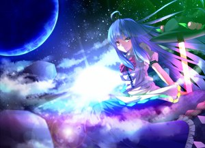 Rating: Safe Score: 143 Tags: blue_hair bow brown_eyes clouds dress hat hinanawi_tenshi long_hair moon ryosios space stars sword touhou weapon User: HawthorneKitty