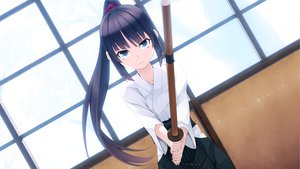 Rating: Safe Score: 37 Tags: game_cg hyouka_no_mau_sora_ni japanese_clothes long_hair ponytail rosebleu shiori_mitsuike sport sword tagme_(artist) weapon User: Maboroshi