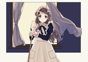 Rating: Safe Score: 33 Tags: apron blue_eyes blush bow brown_hair dress headdress kashiwagi_chisame long_hair maid original User: otaku_emmy