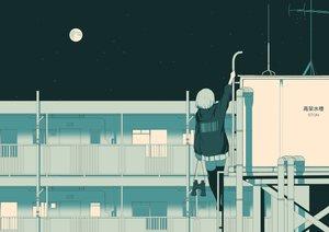 Rating: Safe Score: 46 Tags: building komaccho monochrome moon night original rooftop skirt thighhighs User: RyuZU