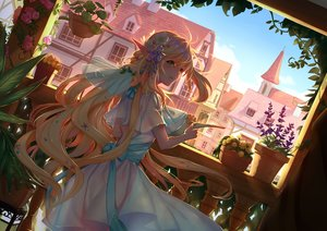 Rating: Safe Score: 79 Tags: blonde_hair blush building clouds flowers green_eyes long_hair original pixiv_fantasia pointed_ears rose sky tagme_(artist) User: BattlequeenYume