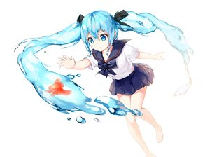 Rating: Safe Score: 101 Tags: animal aqua_eyes aqua_hair barefoot bottle_miku bow drogoth fish hatsune_miku long_hair ribbons seifuku skirt twintails vocaloid water white_hair User: Flandre93
