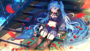 Rating: Safe Score: 83 Tags: aqua_eyes aqua_hair bow breasts drink flowers garter_belt long_hair navel petals rose skirt stairs stockings thighhighs tidsean twintails witch_weapon User: RyuZU