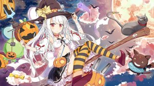 Rating: Safe Score: 80 Tags: animal anthropomorphism azur_lane breasts candy cat clouds erebus_(azur_lane) food halloween hat long_hair moon navel pumpkin red_eyes ribbons staff tagme_(artist) thighhighs weapon white_hair witch_hat User: Dummy
