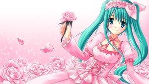 Rating: Safe Score: 50 Tags: dress flowers hatsune_miku pink rose shiraha_(haijin) twintails vocaloid User: Maboroshi