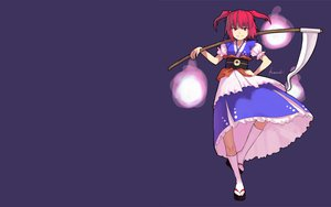 Rating: Safe Score: 26 Tags: dress kneehighs onozuka_komachi purple red_eyes red_hair scythe short_hair touhou twintails weapon User: happygestapo