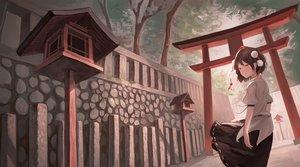 Rating: Safe Score: 35 Tags: brown_hair fjsmu orange_eyes shameimaru_aya short_hair torii touhou tree User: RyuZU