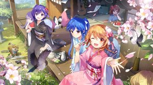 Rating: Safe Score: 77 Tags: animal bird blue_hair braids brown_hair cherry_blossoms dog drink flowers food fruit grass group guitar instrument japanese_clothes kimono long_hair orange_eyes orange_hair original paper ponytail popsicle purple_eyes purple_hair short_hair tracyton twintails watermelon wink User: BattlequeenYume