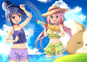 Rating: Safe Score: 29 Tags: 2girls aliasing bikini blue_hair blush bow gun kagamihara_nadeshiko long_hair mori_airi navel pink_hair purple_eyes shima_rin shorts signed swimsuit twintails water weapon wet wristwear yuru_camp User: RyuZU