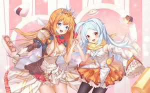 Rating: Safe Score: 44 Tags: 2girls aqua_hair blue_eyes blush braids breasts cleavage dress food gloves izumo_miyako loli long_hair merryj orange_hair pantyhose pecorine princess_connect! red_eyes skirt tiara User: Dreista
