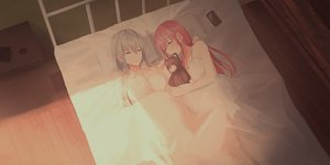 Rating: Safe Score: 44 Tags: 2girls bed chihuri405 gray_hair long_hair original pink_hair shirt sleeping teddy_bear yana zoya User: sadodere-chan
