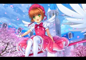 Rating: Safe Score: 48 Tags: blush bow brown_hair building card_captor_sakura cherry_blossoms dress flowers gloves green_eyes hat jpeg_artifacts kinomoto_sakura moonknives petals short_hair sky thighhighs wings User: gnarf1975