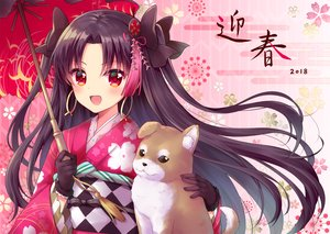 Rating: Safe Score: 37 Tags: animal black_hair blush dog fate/grand_order fate_(series) gloves ishtar_(fate/grand_order) japanese_clothes kimono long_hair mamekosora red_eyes umbrella User: RyuZU