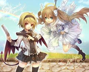 Rating: Safe Score: 73 Tags: angel blonde_hair brown_hair dress emil_chronicle_online green_eyes gun rainbow senano-yu tagme_(character) weapon wings User: Maboroshi
