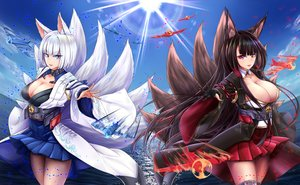 Rating: Safe Score: 98 Tags: 2girls akagi_(azur_lane) animal_ears anthropomorphism aqua_eyes azur_lane black_hair breasts cleavage clouds foxgirl gloves japanese_clothes kaga_(azur_lane) long_hair multiple_tails red_eyes short_hair sky tagme_(artist) tail thighhighs white_hair User: BattlequeenYume