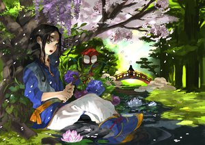 Rating: Safe Score: 60 Tags: all_male black_hair cherry_blossoms flowers forest grass green_eyes kyouichi long_hair male original tree water User: STORM