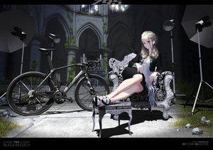 Rating: Safe Score: 86 Tags: bicycle blonde_hair breasts cleavage hitomi_kazuya long_hair original red_eyes skirt watermark User: gnarf1975