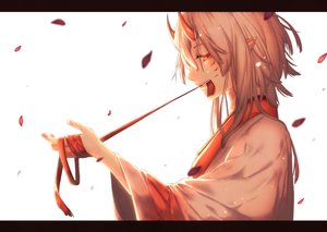 Rating: Safe Score: 40 Tags: demon gray_hair horns orange_eyes original petals pointed_ears ribbons short_hair tagme_(artist) white User: RyuZU
