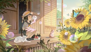 Rating: Safe Score: 51 Tags: animal black_hair bubbles butterfly cat flowers food hat kneehighs lan-ge-zi loli original school_uniform short_hair sunflower yellow_eyes User: Maboroshi