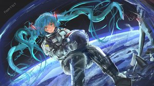 Rating: Safe Score: 12 Tags: ein_eis hatsune_miku long_hair space twintails vocaloid User: luckyluna