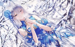 Rating: Safe Score: 122 Tags: aliasing anastasia_(fate/grand_order) aqua_eyes chinese_clothes chinese_dress fate/grand_order fate_(series) gray_hair junpaku_karen long_hair snow tree User: Dreista