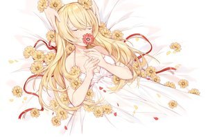 Rating: Safe Score: 33 Tags: blonde_hair breasts cleavage dress flowers long_hair miyuki_(hananooni) petals ribbons summer_dress vocaloid User: RyuZU