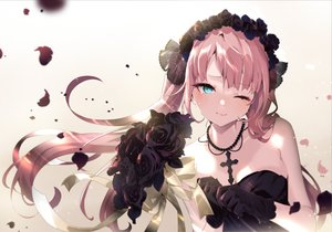 Rating: Safe Score: 85 Tags: aqua_eyes aruterra blush close cross flowers gloves gothic long_hair necklace original pink_hair rose twintails wedding_attire wink User: BattlequeenYume