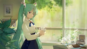 Rating: Safe Score: 54 Tags: drink flowers green_eyes green_hair hatsune_miku long_hair mirror rain shadowsinking shirt skirt twintails vocaloid waifu2x water User: BattlequeenYume