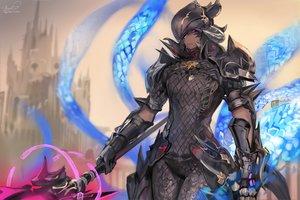 Rating: Safe Score: 94 Tags: all_male armor au_ra bodysuit dark_skin final_fantasy final_fantasy_xiv gloves headdress horns magic male momoko_(momopoco) purple_eyes signed staff User: otaku_emmy