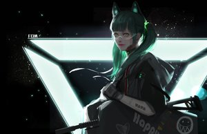 Rating: Safe Score: 45 Tags: animal_ears catgirl fom_(lifotai) goggles green_eyes green_hair gun hoodie original realistic techgirl twintails watermark weapon User: FormX