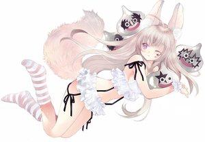 Rating: Safe Score: 63 Tags: animal_ears blonde_hair foxgirl long_hair original purple_eyes socks tagme_(artist) tail white wink User: luckyluna