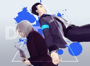 Rating: Safe Score: 5 Tags: all_male black_hair blood byakuya0315 connor_(detroit:_become_human) detroit:_become_human gradient gray_hair gun hank_anderson male robot short_hair suit tie weapon User: otaku_emmy