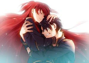 Rating: Safe Score: 72 Tags: black_hair chtholly_nota_seniorious hug long_hair male mido_(mimizuku-hukuro) red_hair short_hair shuumatsu_nani_shitemasu_ka? tears uniform willem_kmetsch User: RyuZU