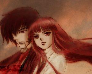 Rating: Safe Score: 39 Tags: alucard cross hellsing long_hair red_eyes red_hair short_hair User: Tensa