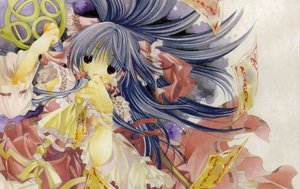 Rating: Safe Score: 9 Tags: blue_hair hakurei_reimu japanese_clothes long_hair miko ribbons touhou User: Oyashiro-sama