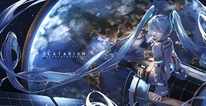 Rating: Safe Score: 66 Tags: blue_eyes blue_hair earth hatachi8p hatsune_miku long_hair pantyhose planet space stars twintails vocaloid User: Dreista