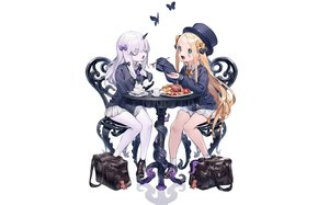 Rating: Safe Score: 78 Tags: abigail_williams_(fate/grand_order) blonde_hair blue_eyes bow bukurote butterfly cropped drink fate/grand_order fate_(series) food gray_hair hat horns lavinia_whateley loli long_hair purple_eyes shoujo_ai skirt socks tentacles third-party_edit User: otaku_emmy