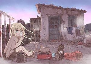 Rating: Safe Score: 28 Tags: aqua_eyes barefoot blonde_hair building city drink loli long_hair original rooftop ruins tagme_(artist) tail User: BattlequeenYume