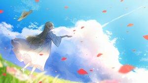 Rating: Safe Score: 31 Tags: blonde_hair blush clouds dress fuuka_rin grass hat long_hair necojishi petals red_eyes sky User: BattlequeenYume