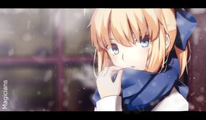 Rating: Safe Score: 116 Tags: aliasing aqua_eyes artoria_pendragon_(all) blonde_hair candy fate_(series) fate/stay_night magicians ponytail saber scarf snow watermark winter User: luckyluna