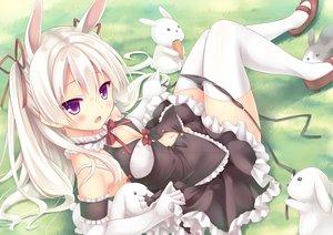 Rating: Safe Score: 211 Tags: animal animal_ears blonde_hair blush bunnygirl choker elbow_gloves long_hair navel original panties rabbit ribbons ryo thighhighs underwear User: Flandre93