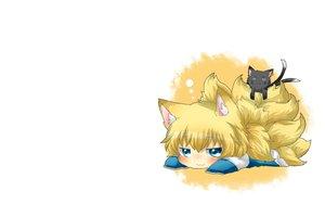 Rating: Safe Score: 100 Tags: animal animal_ears blonde_hair blue_eyes blush cat cat_smile chen chibi foxgirl multiple_tails rebecca_(naononakukoroni) tail touhou yakumo_ran User: SciFi